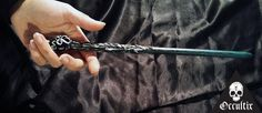 Salazar Unique Handmade Magic Wand Black Silver Magic by Occultix