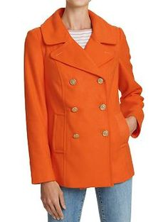 Bright orange semi-fitted wool-blend coat from Old Navy (Currently on sale for $27.50)