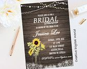 Rustic Bridal Shower Invitation Printable, String Lights Bridal Shower Invitation,Sunflowers, Mason Jar Bridal Shower, Digital File