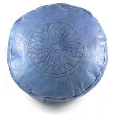 Pouf en cuir gravé bleu nuit