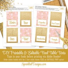 Thanks for checking out Sprinkled Designs!  This listing is for a non-customized BLUSH PINK & GLITTER GOLD PRINTABLE PARTY PACK made to