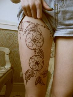 catch dreamer, leg, tattoo Getting this on my left leg. Diggin it, and dream catchers. Obsessed