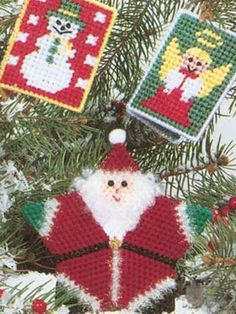 Santa and Friends Ornaments free plastic canvas pattern of the day 7/27/13