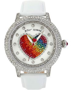 BETSEYS BIG HEART WATCH WHITE accessories jewelry watches fashion