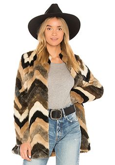 888d51de91a AMUSE SOCIETY Waylon Faux Fur Jacket in Multi