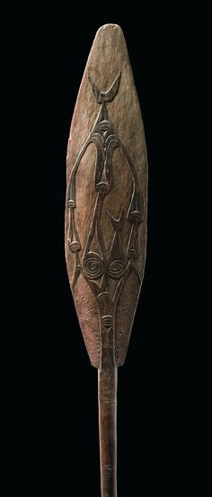 Ceremonial paddle, Papua New Guinea, Sundown Province (former West-Sepik), Arop, Malol | wood, mat brown patina, small traces of black paint. | Read more: http://www.tribal-art-auktion.de/en/all/search_New+Guinea/d10_11/#ixzz3FbQwtLUi