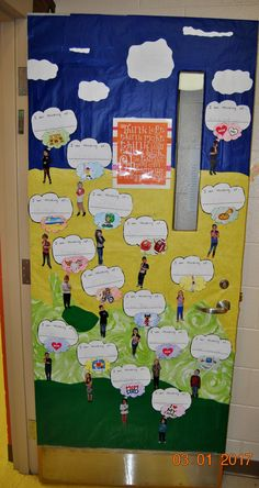 """2016/2017 Dr. Seuss theme door """"Oh The Thinks You Can Think"""".  Took pictures of the kids posed like they are thinking. Placed thought bubbles above their heads, """"I am thinking of..."""" along with a picture of what they are thinking of."""