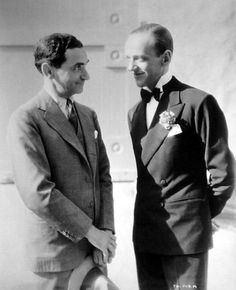 Songwriter Irving Berlin and Fred Astaire during the filming of Top Hat