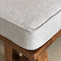 Soft texture of our latest pale grey bench seat cushion. Window Seat Cushions, Outdoor Seat Cushions, Bench Cushions, Window Seats, Bay Window, Cottage Dining Rooms, Bench Covers, Custom Cushions, Textiles