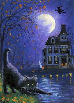 Black cat Halloween ghost witch haunted house moon original aceo painting art #Miniature