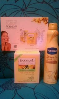 Dandelions and other fine things: Influenster Sugar and Spice Vox Box - Dickinson's Witch Hazel Oil Controlling Towelette's and Vaseline Spray and Go Moisturizer