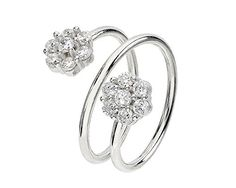 Sterling Silver Size 5 Wrap Around Ring with CZ Flowers *** You can find out more details at the link of the image.Note:It is affiliate link to Amazon.