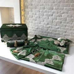 Fransız Dantelli Bohça Seti | Yeşil&Gold