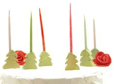 Pine Tree/Forest Candle Holders -  Celebrate festivities with meta wood candle holders -- Happy Birthday!
