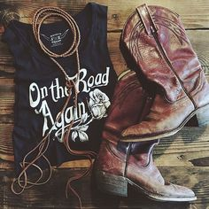WEBSTA @ bandit_brand - On The Road Again  thanks fer makin our tee look realll cute @featherandskull #BanditBrand