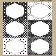 Printable Labels/Cards for journaling, scrapbooking, gift giving, mailing - Black and White Dots. $6.00, via Etsy.