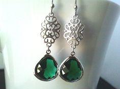 Oriental Emerald Silver Earrings Drop Earrings by LaLaCrystal