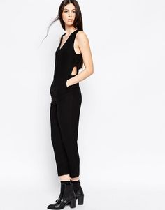 943668c460 ASOS Jumpsuit with V-Neck and Banded Side at asos.com