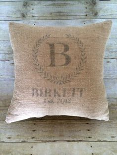 Custom monogrammed burlap pillow by BellaGreyVintage on Etsy
