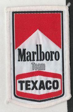 MARLBORO TEAM TEXACO McLAREN ORIGINAL PERIOD CLOTH SEW ON RACE SUIT PATCH 1970s Racing Stickers, Texaco, Formula 1, F1, Race Cars, 1970s, The Balm, Period, Decals