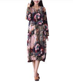 9f3c2f10209cd S-5XL Casual Women Floral Printing Pockets Dress
