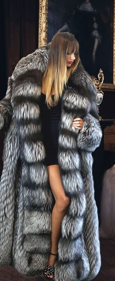 Silver Fox Fur Coat full length coat. ( it looks like Edmond's from Narnia)