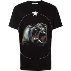 Givenchy Monkey Brothers printed T-shirt ($550) ❤ liked on Polyvore featuring men's fashion, men's clothing, men's shirts, men's t-shirts, black, mens patterned t shirts, mens graphic t shirts, mens short sleeve shirts, mens patterned shirts and mens short sleeve cotton shirts