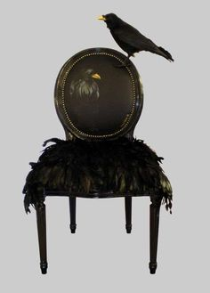 """I've found about a million of these """"modern vintage"""" chairs that I love.  I really hope that fake bird is detachable though."""