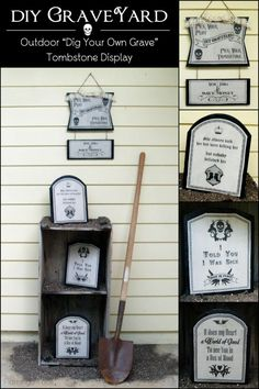 DIY Graveyard Outdoor Decorations - fun Halloween DIY craft idea using Mod Podge