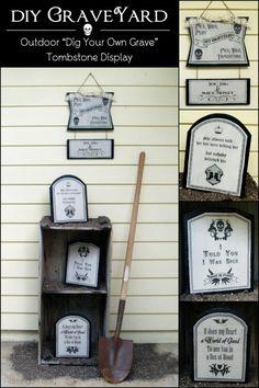 DIY Graveyard Outdoor Decorations - fun Halloween DIY craft idea using Mod Podge