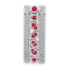 14k White Gold Diamond and .24 Ruby Fancy Chain Slide / STYLE: PM3853-RU-020-WA #DiamondandRubyChainSlide #RubyChainSlide #14k #WhiteGold #DiamondJewelry #Ruby #ChainSlide Diamond Stone, Ruby Stone, Birthstone Jewelry, Gemstone Jewelry, Anniversary Bands, Vintage Diamond, Gold Material, Gemstone Colors, Or Rose