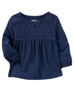 Baby Girl Crocheted Jersey Top from OshKosh B'gosh. Shop clothing & accessories from a trusted name in kids, toddlers, and baby clothes.