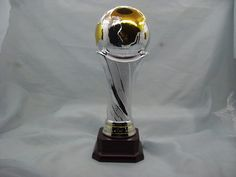 Ceramic Globe Trophies, Sports awards, trophy cups, custom awards with combination of shiny silver, mat silver and shiny gold sits on a brown ceramic base.  Three size available They are made of ceramic The item number is MD11034 Our email is sale1@hpceramics.com Web: http://www.hpceramics.com