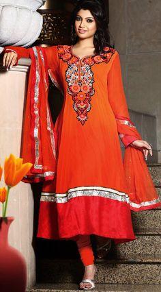 Orange Viscose Georgette Anarkali Ready Made Salwar Kameez-IG6899 at IndianGarb