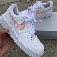 aesthetic shoes sneakers LV Air Force 1 (Read Description) by customsbyuriel Jordan Shoes Girls, Girls Shoes, Ladies Shoes, Shoes For Teens, Cool Shoes For Girls, Zapatillas Nike Air Force, Nike Af1, Moda Sneakers, Shoes Sneakers