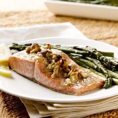 Honey-Dijon Alaska Salmon with Asparagus & Walnuts