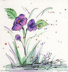 Original Watercolor Painting of Purple Pansies by BlessedBySusan, $6.00