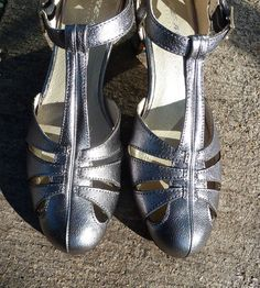 Remix Vintage Shoes, Balboa T-Strap Heel in Silver Leather