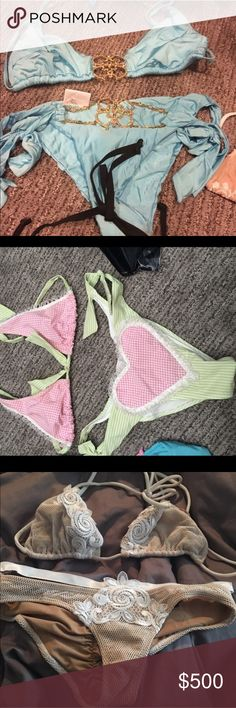 3 bikinis for 1 This is for p a y p OnLY. If you buy this listing I will send you my email and you can send to p. Baby blue size XL, gingham size large and old and rare bed of roses XL too small bottom. All three of these fit me - believe bed of roses bottom actually a medium Beach Bunny Swim Bikinis