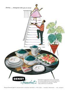 Vintage Advertisements, Vintage Ads, Vintage Decor, Retro Ads, Retro Kitchen Accessories, Atomic Decor, Denby Pottery, Vintage Dishes, Mid Century House