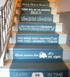 Ultra Stylish High Design Beatles Lyrics Stair Decals. What better way to be cheerful about the torture of climbing stairs than these wonderful Beatles lyrics stair decals? They are basically the coolest stair decor idea ever.