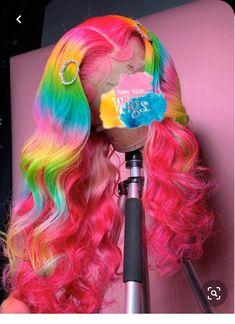 Cute Hair Colors, Pretty Hair Color, Hair Colour, Danse Twerk, Rainbow Wig, Colored Wigs, Colored Hair, Hair Laid, Lace Hair