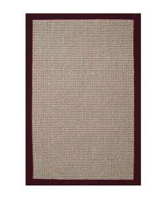 Hand-woven Sisal Cherry Brown Border Rug (8' x 10')