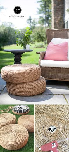 DIY Rope Ottomans - Home Decor DIY Crafts