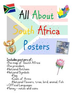 These are great posters to brighten up your walls and teach about South Africa. Included is: Map of South Africa The president National Anthem National Symbols Flag Coat of Arms National flowers tree bird animal fish Official Languages Money Heritage Day South Africa, South Africa Map, Africa Flag, South African Flag, African Map, Africa Symbol, Money Chart, Africa Craft, African Art Projects