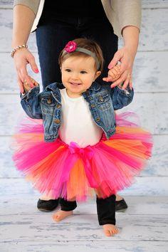 Birthday Girl Tutu in Pink Orange Red Fuchsia for Newborn Infant Baby Toddler - Photography Prop Halloween Costume. $25.00, via Etsy.