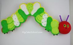 """Learn to make an ADORABLE hungry caterpillar """"cupcake cake"""" on this free MyCakeSchool.com tutorial!"""
