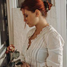 SCRUNCHIE WALDEINSAMKEIT Glamour, Elegant, Scrunchies, Red Hair, Ruffle Blouse, Collection, Women, Products, Fashion
