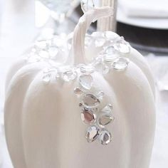 Pin for Later: 18 Times Real Girls Nailed Glamorous Halloween Decor  A crystal-on-white monochromatic palette makes this pumpkin both elegant and glamorous.