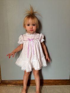 1970s baby girls FOLK lace ruffle eyelet puff by VinTaGeOus102607, $18.00